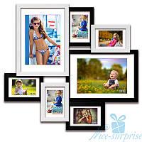 Фоторамка из дерева Алиса на 7 фотографий 10х15, обычное стекло (чёрно-белый)