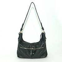 Кожаная женская сумочка через плечо, черный флотар. Модель 13