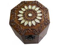 Шкатулка деревянная восьмигранная с медной отделкой 172037 ТМ Дерево