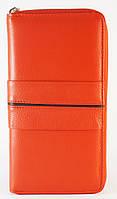 Кожаный красный прочный женский кошелек с картхолдером SALFEITE art 12247.