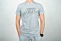 Мужская футболка Nike + надпись, серая, хлопок