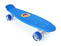 Пенни Борд «Синий» 22″ Синие Светящиеся Колеса / пенниборд скейт (penny board), скейтборд