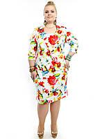 Модный женский костюм больших размеров:пиджак+сарафан,модель ДК 742