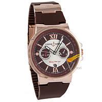 Мужские механические часы Ulysse Nardin Chronograph Gold Brown (Улисс Нардин)