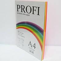 "Бумага цветная ""PROFI"" А4. 160г (100л) 5 цветов Х 20 листов, RAINBOW 5 CYBER COLOR"