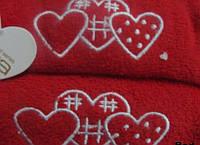 Набор полотенец 40х60+50х100 - 2шт. Arya   Tree Hearts красный