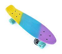 Пенни Борд Fish «Pastel Gradient» 22″ Голубые Колеса / пенниборд скейт (penny board), скейтборд с рисунком
