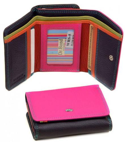 Оригинальный женский кожаный кошелек dr.Bond WRS-5 plum-red, сиреневый