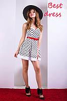 Летний Кокетливый Сарафан Платье в Горошек Белое р. XS-XL