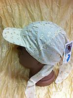 Бейсболка  косынка  с завязками украшена камнями