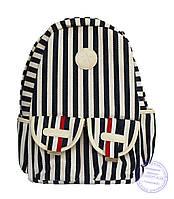 Стильный рюкзак в полоску для школы и прогулок - сине-белый - 8018