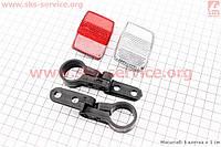 Катафоты комплект красный и белый с креплением для велосипеда