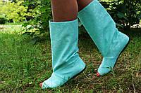 Бирюзовые однотонные полусапожки с открытым носком. Арт-0150