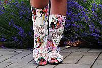 Цветные тканевые летние сапоги с открытым носком. Арт-0168