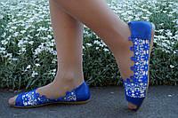 Стильные синие кружевные балетки с открытым носком. АРТ-0548