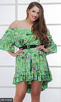 Неповторимое женское платье асимметричного кроя с оголенными плечами и цветочным принтом шелк армани батал