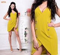 Желтое платье с пуговицами