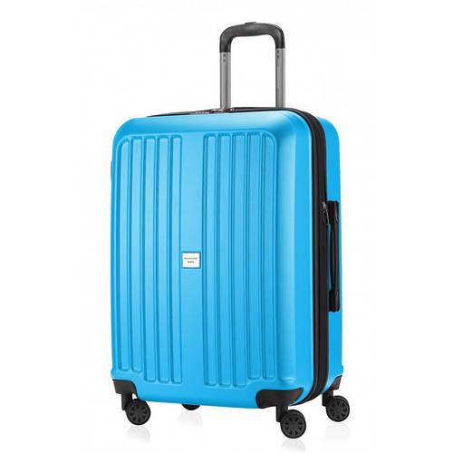 Огромный голубой чемодан на 4-х колесах HAUPTSTADTKOFFER xberg midi cyan blue, пластик, 90 л.