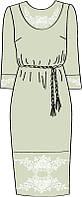 820-14/08 Платье женское с поясом, льняное , размер 40