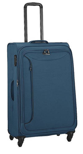 Синий тканевый прочный чемодан-гигант 4-колесный 104/117 л. March Delta 2781/54