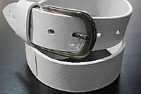 Ремень джинсовый белый Maybik 40 мм, итальянская кожа