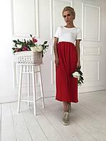 Женское двухцветное платье с короткими рукавами