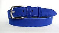 Замшевый ремень 35 мм ярко-голубой пряжка классическая хромированная