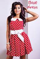 Летнее Платье Красное в Белый Горошек из Штапель Шелка р. XS-XL