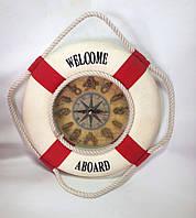 Часы, настенные, 26 см, Спасательный круг, Оригинальные подарки, Морские декоры, Морские сувениры