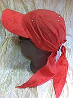 Бейсболка  косынка  с завязками украшена камнями цвет красный