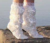 Белоснежные красивые летние кружевные сапоги РОЗА. Арт-0035