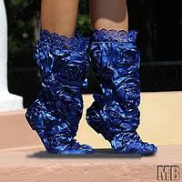 Синие красивые летние кружевные сапоги РОЗА. Арт-0035
