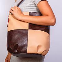 Коричневая сумка-мешок женская кофейное ассорти
