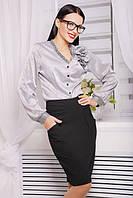 Блуза из тонкого шелка, на плече украшение цветок №110