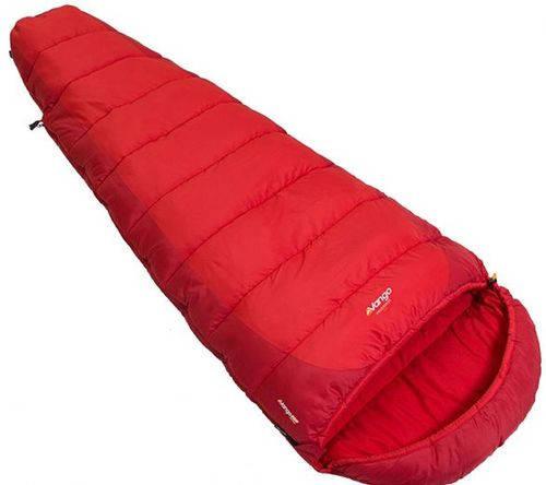 Яркий комфортный спальный мешок Vango Wilderness 350/-2°C/Volcano, 922507 красный