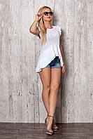 Блуза с асиметричной баской белая