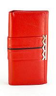 Кожаный красный вместительный женский кошелек SALFEITE art. 12248