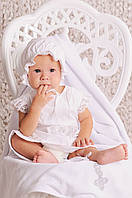 Комплект для крещения девочки - платье, пинетки, шапочка. Размеры 68. Цвет белый.