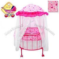 Кроватка-манеж для куклы детская на колесиках с балдахином Melogo 9674