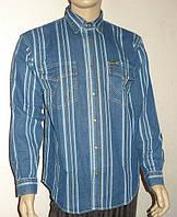 Джинсовая рубашка в полоску