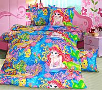 Постельное белье для детей, Морская сказка бязь, подростковое полуторное постельное белье