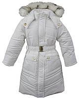 """Зимнее пальто """"Lady белое для девочки (холлофайбер, флис) р. 122 ТМ Bebepa"""