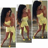 Комбинезон желтый женский Со съемной шифоновой юбкой