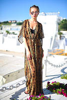 Ультрамодная пляжная женская туника свободного фасона под пояс с леопардовым принтом шифон
