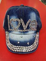 Джинсовая кепка со стразами LOVE