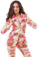 Женский костюм двойка с облегающими брюками и жакетом с цветочным принтом стрейч коттон