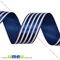 Атласная лента в полоску, 25 мм, Синяя темная, 1 м (LEN-016706)
