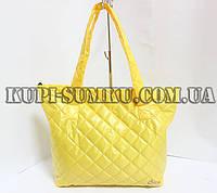 Молодежная желтая стеганная сумка из плащевки с пропиткой