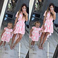 Family Look Парные платья в горох мама+дочка