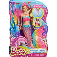 Кукла Barbie радужная Русалка Яркие огоньки оригинал